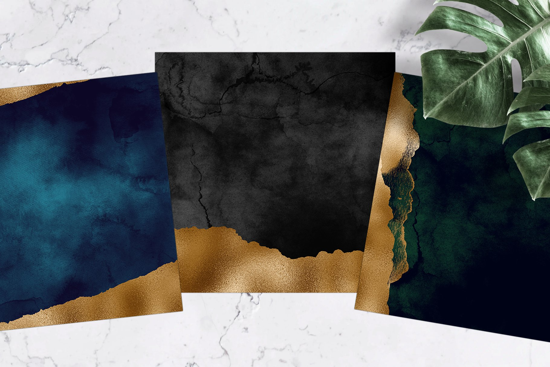 Dark & Gold Watercolor Texture Pack example image 3