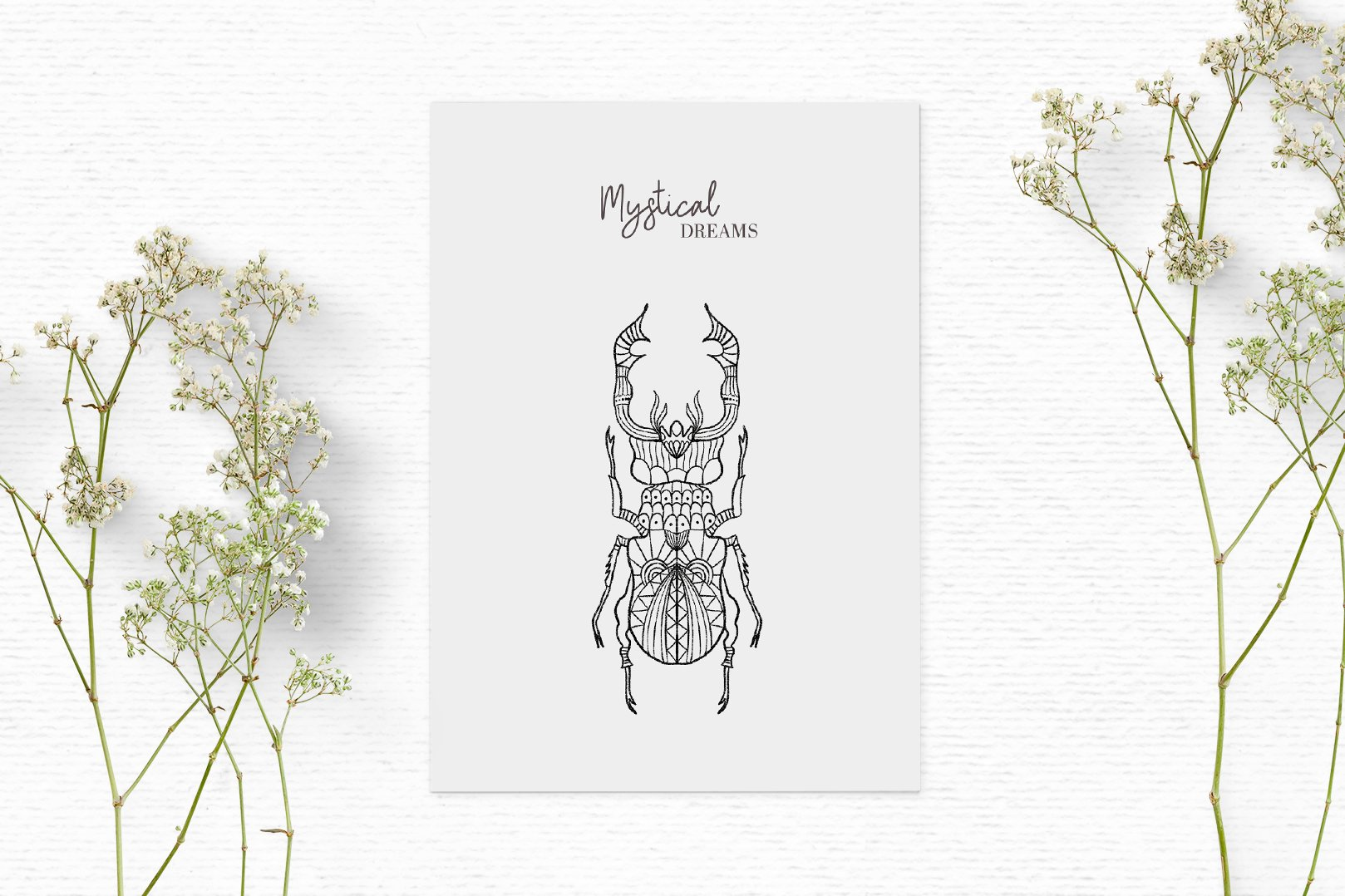 Hand drawn digital stamps with insects | Boho clipart example image 3