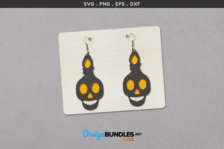 Halloween Earrings Template | Candle on skull example image 1