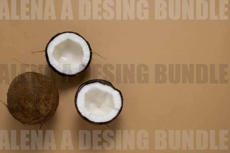 Flat lay Fresh Coconuts on a Brown Background example image 1
