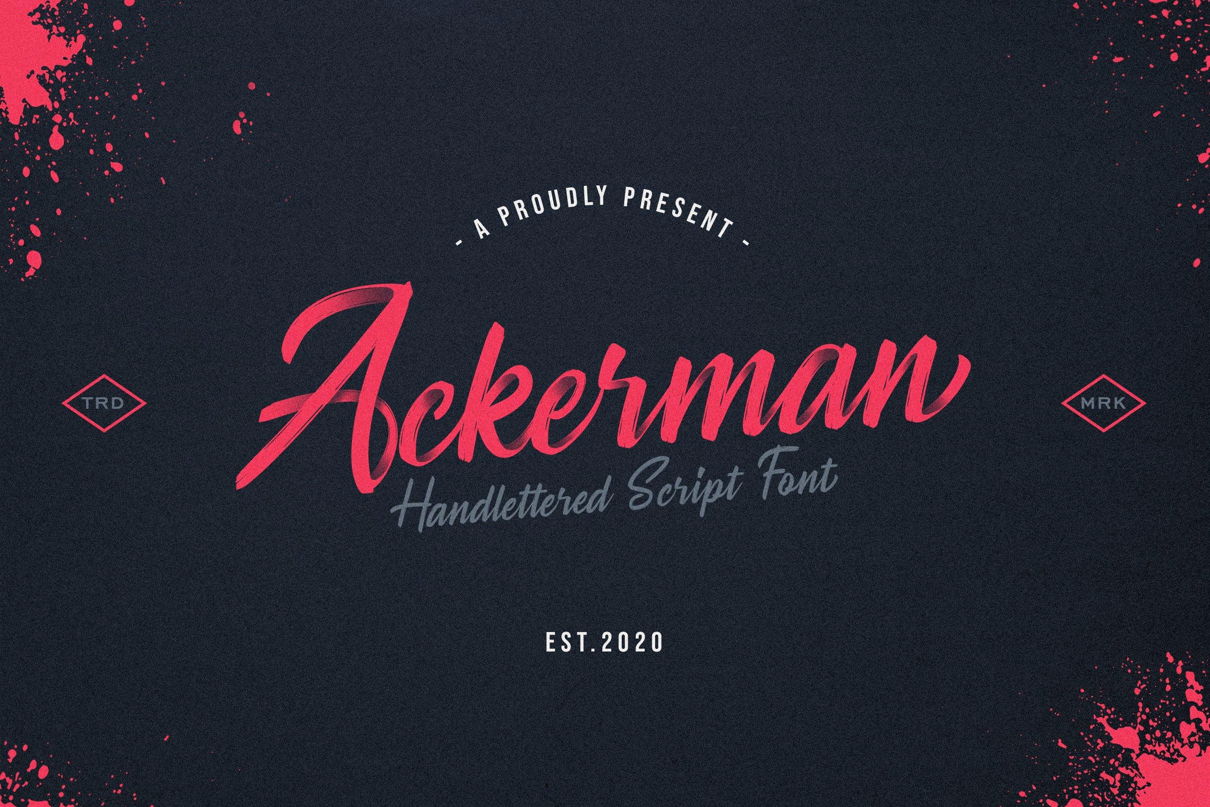 Ackerman Handlettered Script Font example image 1