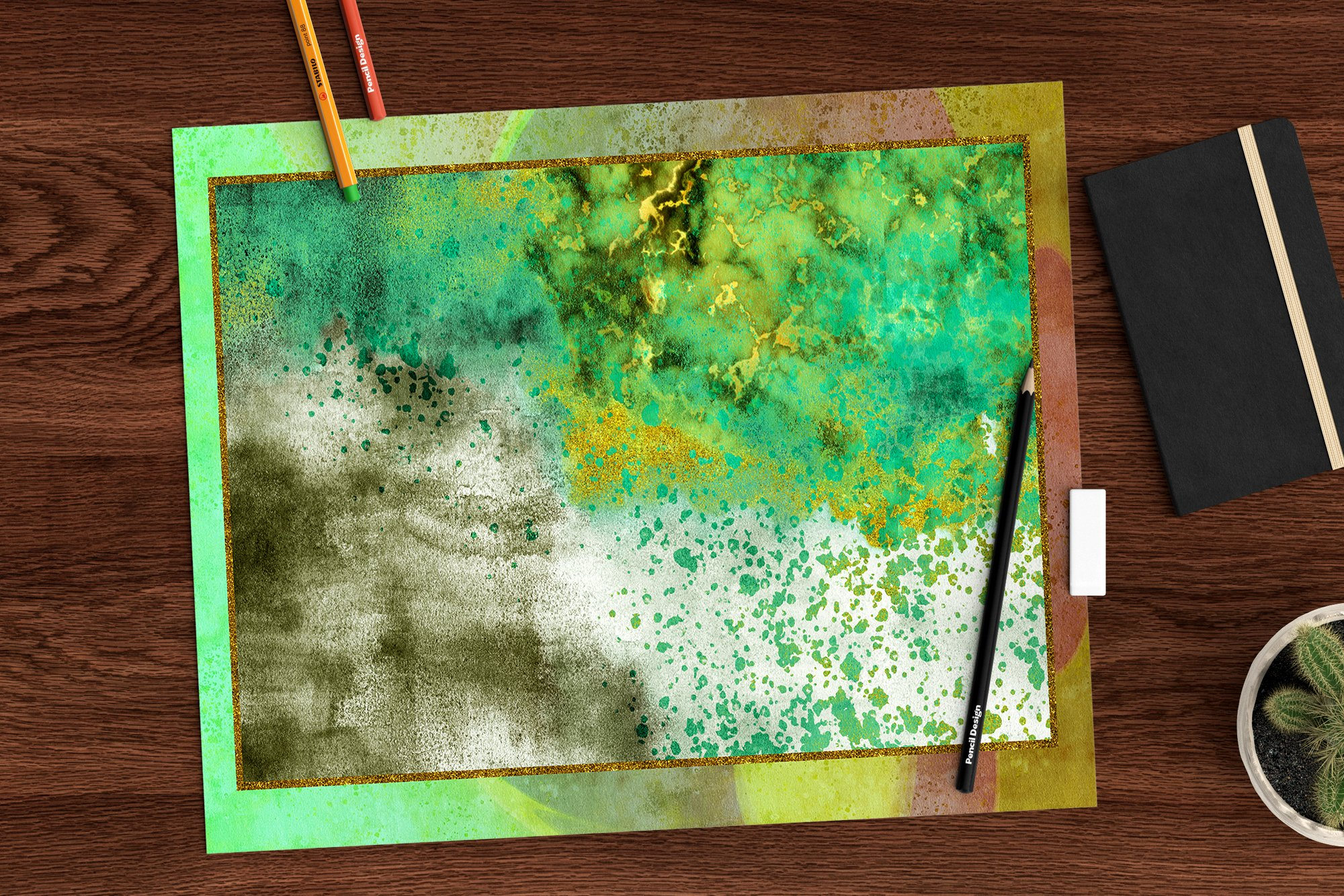 Gold Marble & watercolor geometric templates, Abstract Paper example image 6