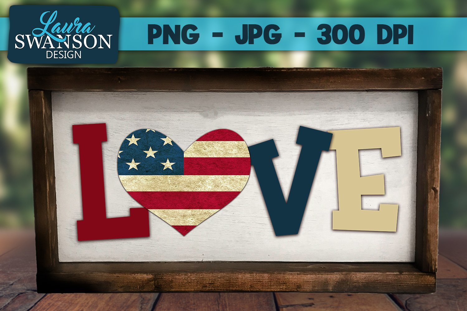 Love with Patriotic Heart PNG, JPG, Sublimation, PrintnCut example image 1