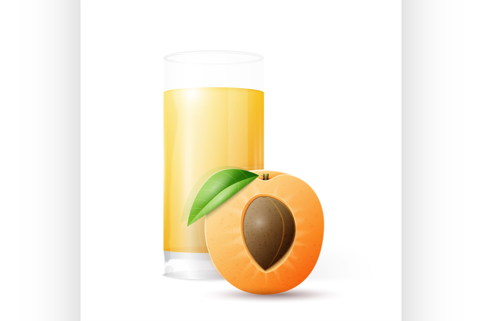 Half apricot and glass of juice example image 1