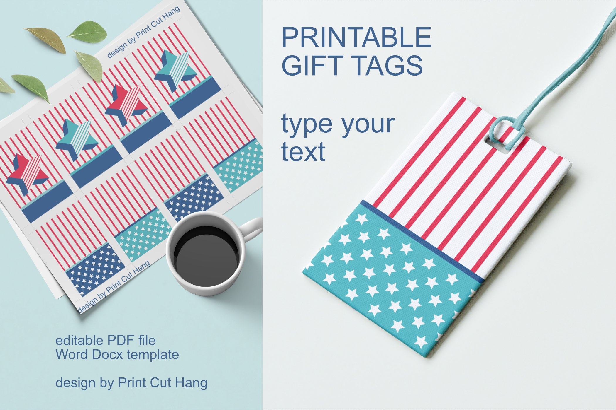 Patriotic Tags with Star Printable Editable PDF Tag Template example image 2