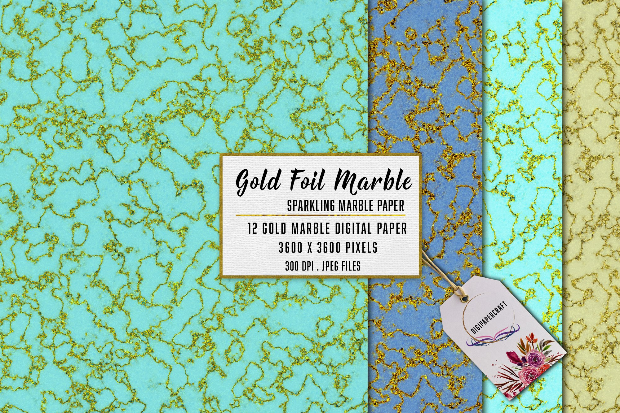 Gold Marble digital paper, Sparkling marble backgrounds example image 6