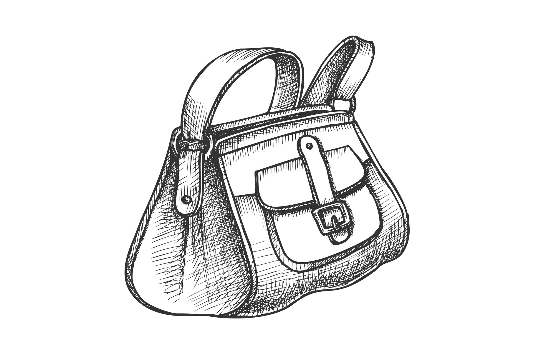 Fashion Stylish Hand Luggage Bag Monochrome Vector example image 1