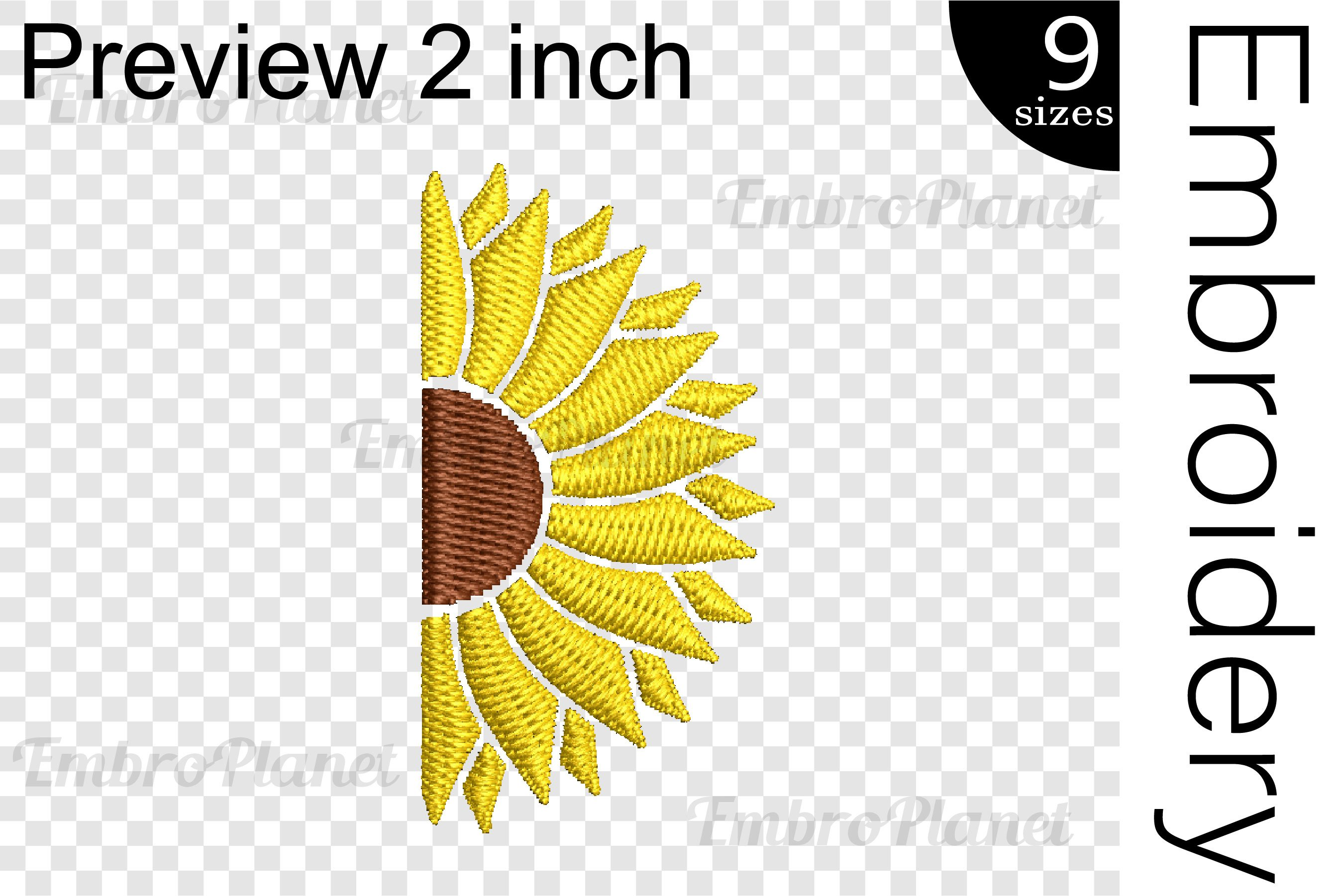 Split Sunflower - Embroidery Files - 1515e example image 2
