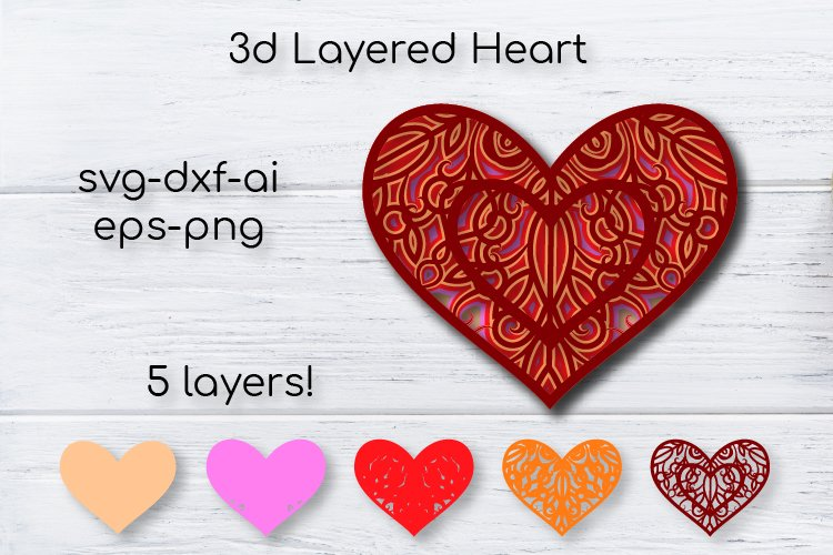 Download 3d Heart Svg Valentine Cut File Multilayer Heart Mandala 1001425 Cut Files Design Bundles