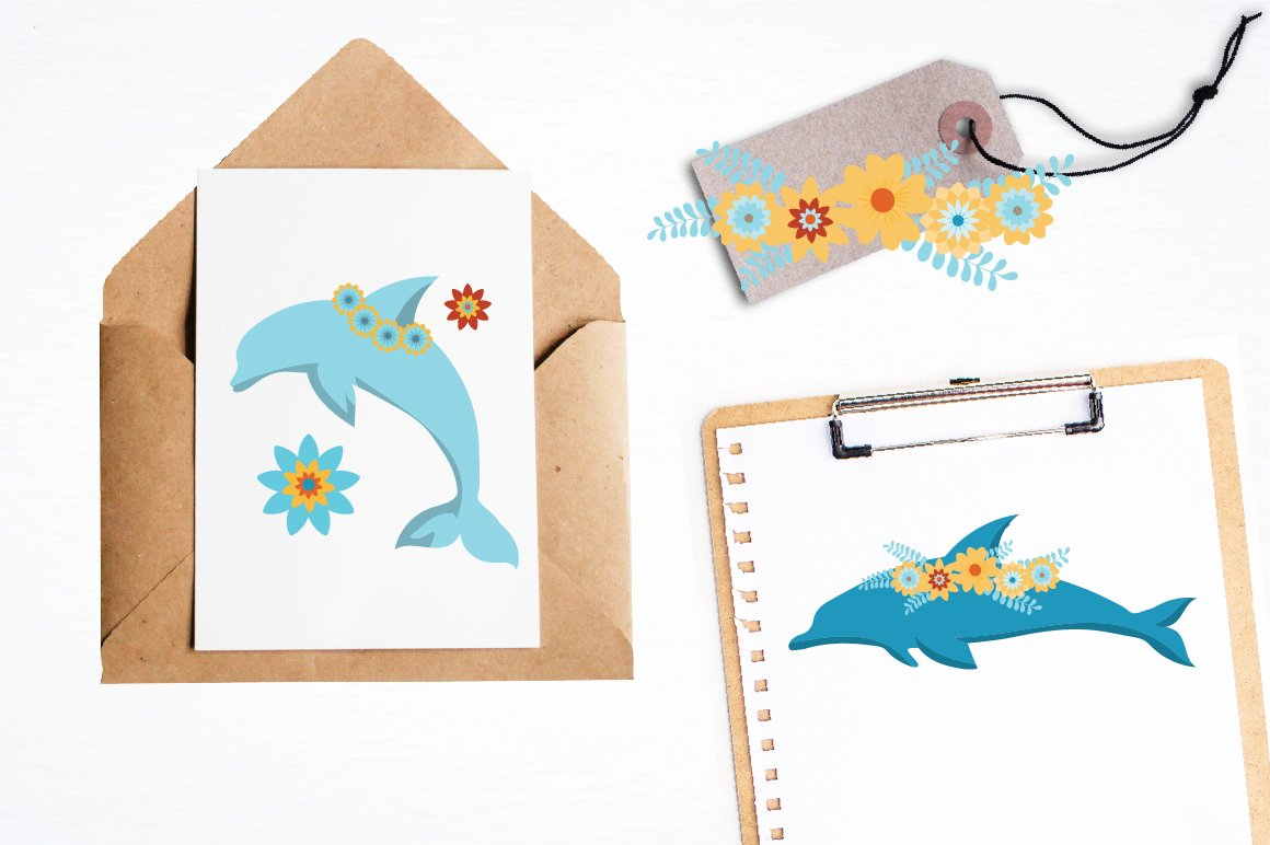 Floral Dolphins graphics and illustrations example image 4