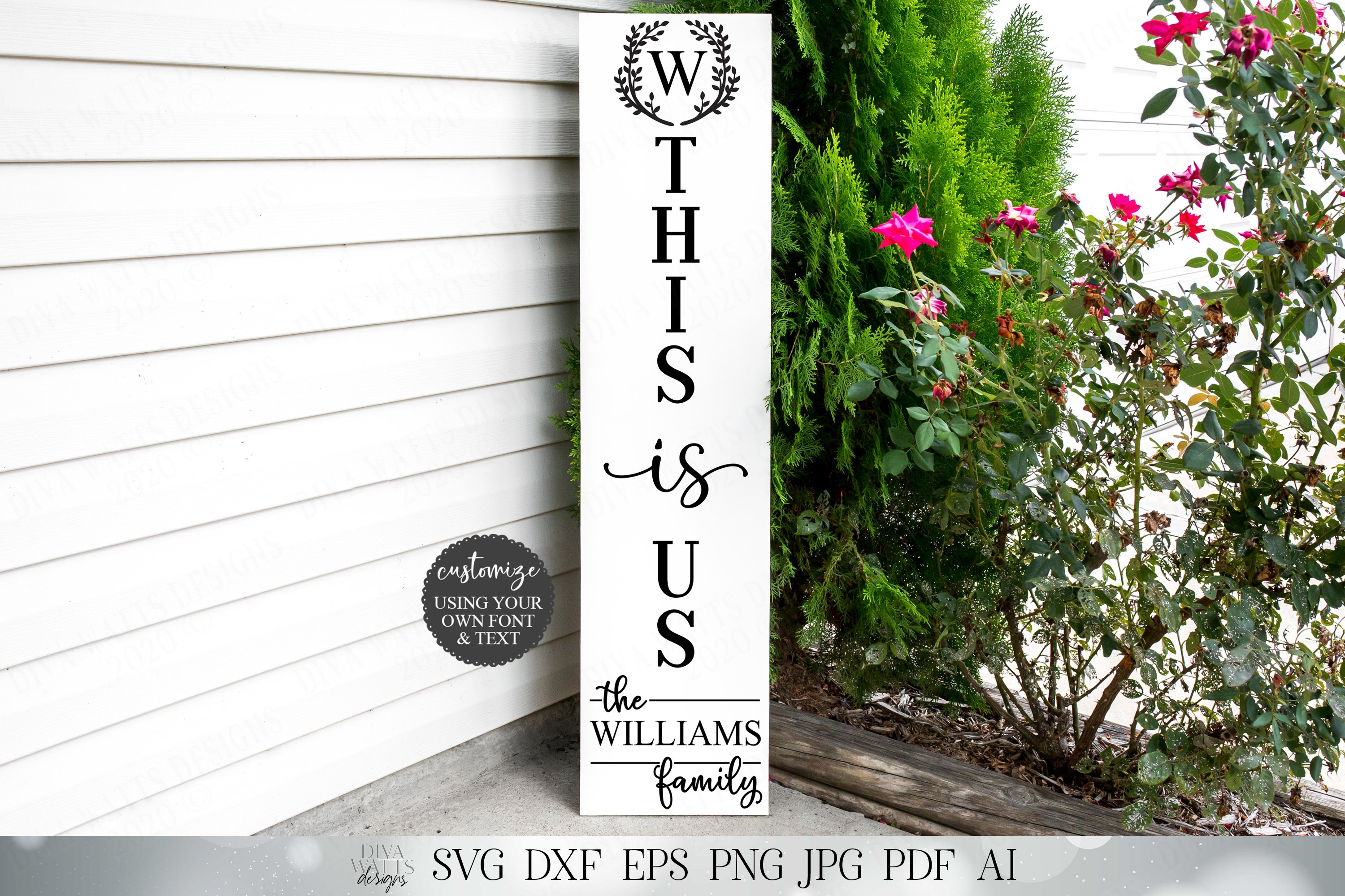 Vertical This Is Us Sign| Monogram Last Name example image 1
