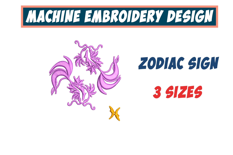Pisces Zodiac Sign - machine embroidery design, satin stitch example image 1