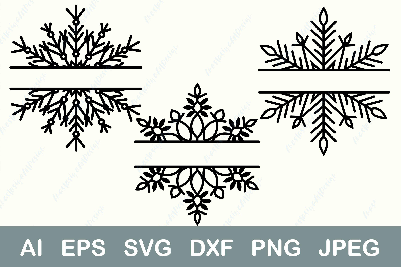 Split Monogram Svg Christmas Frame Svg Winter Border Dxf 898472 Illustrations Design Bundles