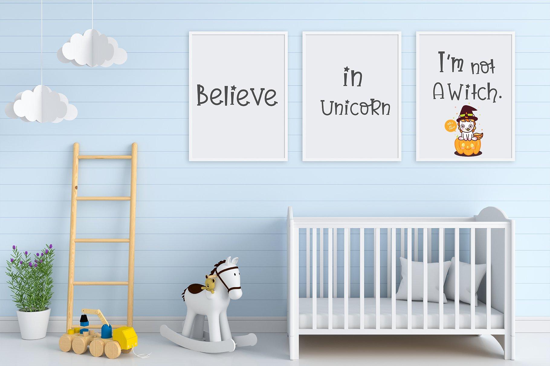 Believe in unicorn Handwriting- cute kid font Kawaii style! example image 6