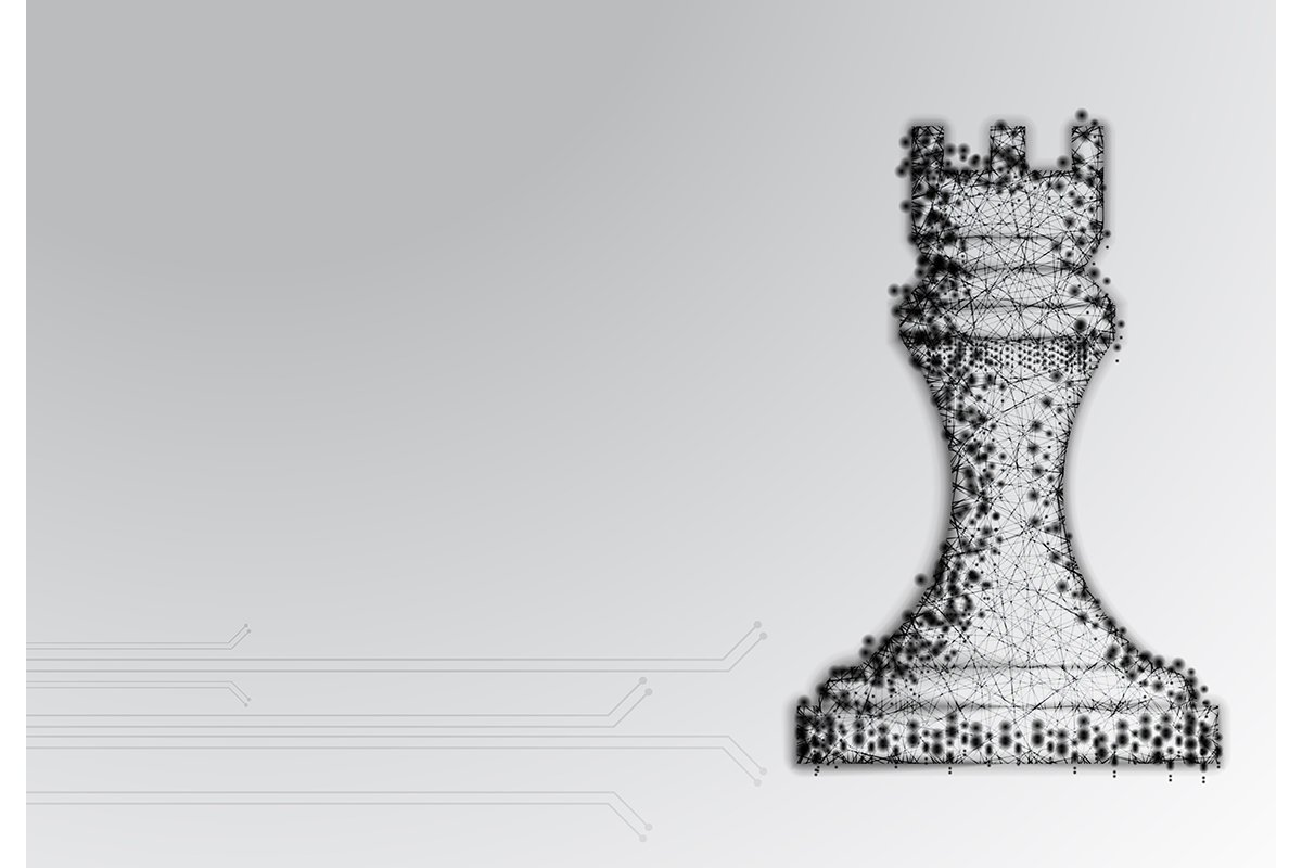 Chess Rook, fortress. Abstract Low Poly Design. Strategy Con example image 1