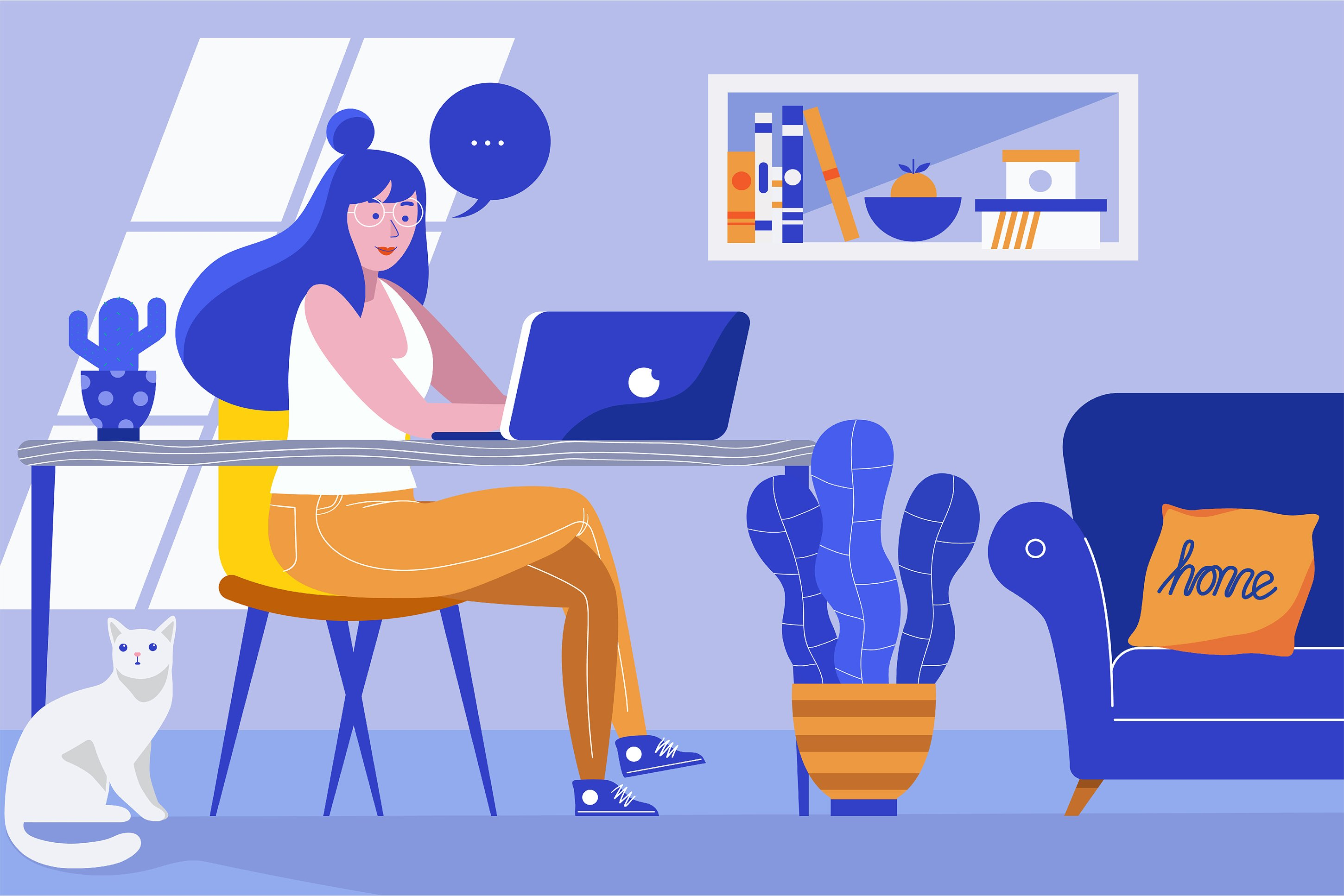 4 Bundle Illustration Style Work From Home example image 2