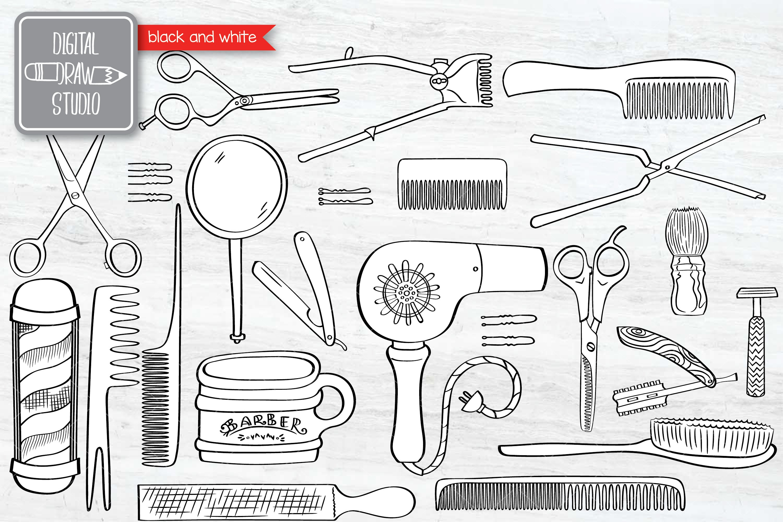 Hand Drawn Vintage Barber Shop Doodles   Esp Png Svg Dxf Jpg example image 4