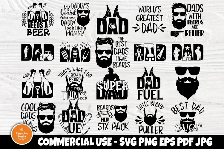 Free Father's day boxes and cards. Fathers Day Svg Beard Svg Dad Signs Beer Svg Bbq Svg 590821 Cut Files Design Bundles SVG, PNG, EPS, DXF File