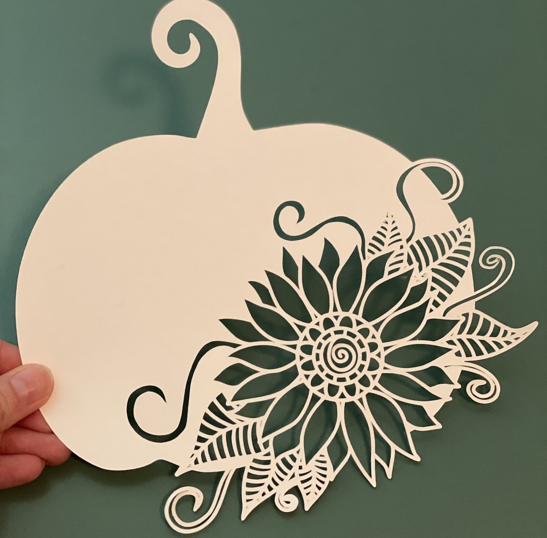 Pumpkin Sunflower Paper Cut Template Design example image 2