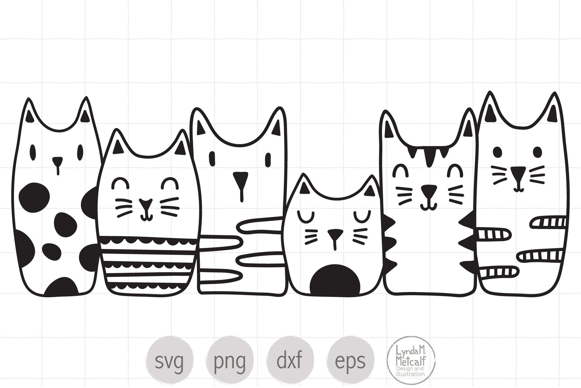Cats Vector Image Dfx Png Line Art Cats Clipart Cricut Cut Files Cat Image Cat SVG File Stylized Cat Silhouette Svg Silhouette Files
