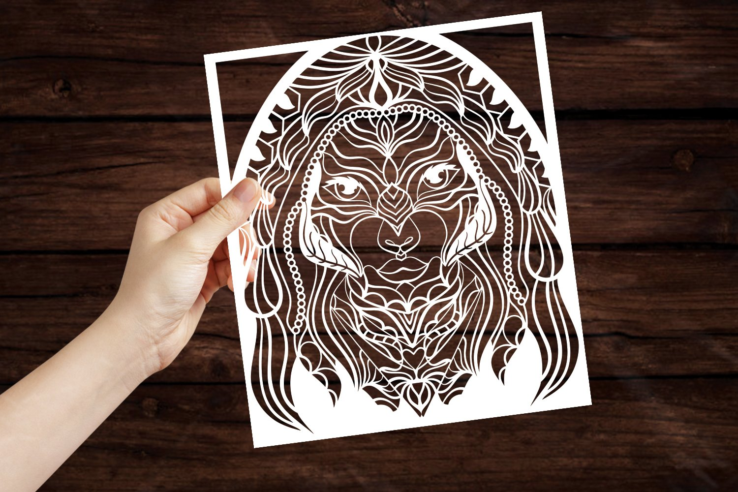 Beautiful Women Portrait Papercut Frame, Magician Decoration example image 3