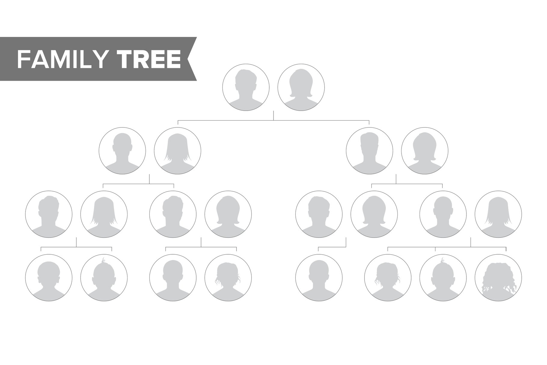 Genealogical Tree Template Vector. Family History Tree With example image 1