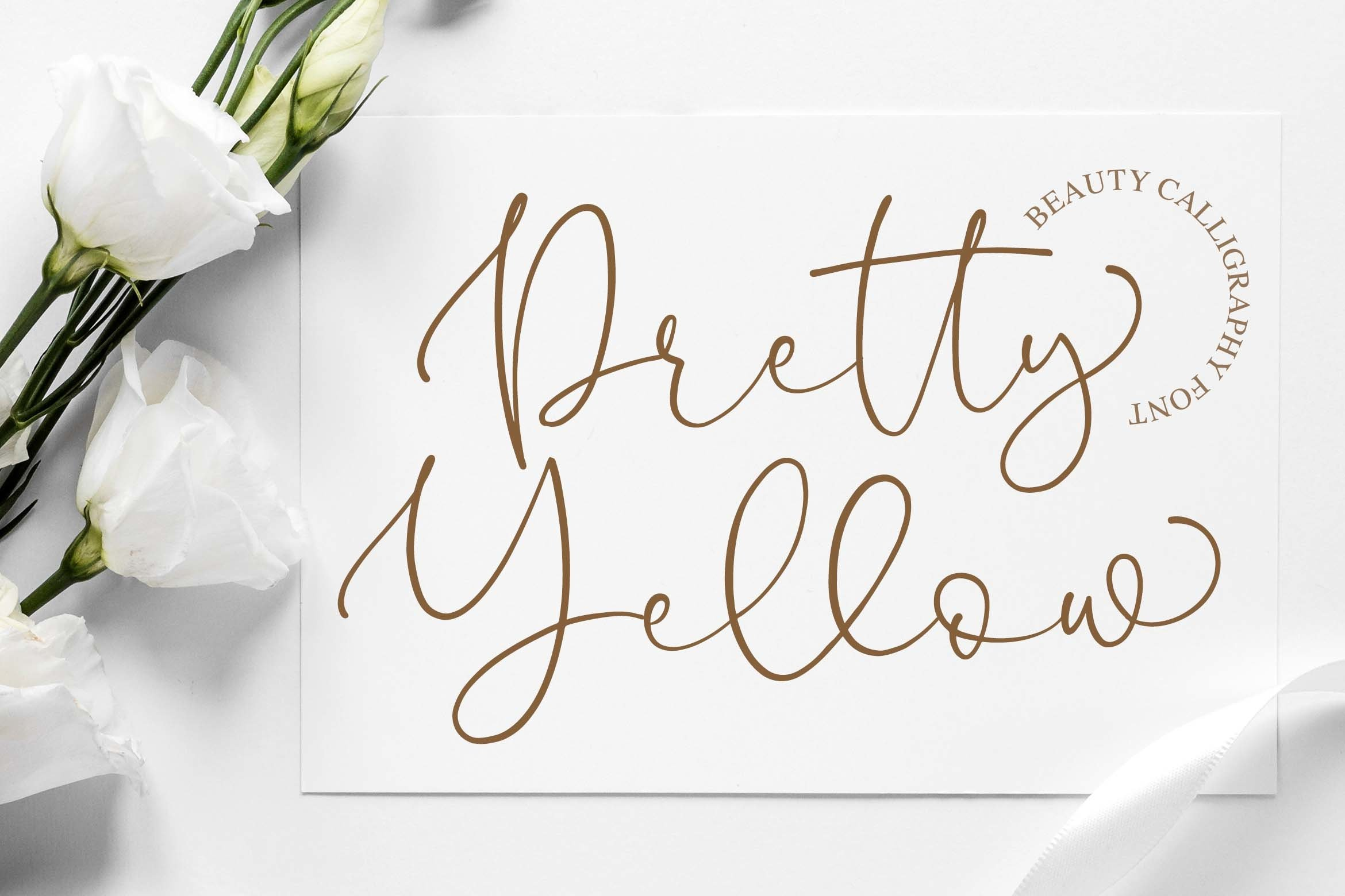Pretty Yellow Beauty Calligraphy Font example image 1