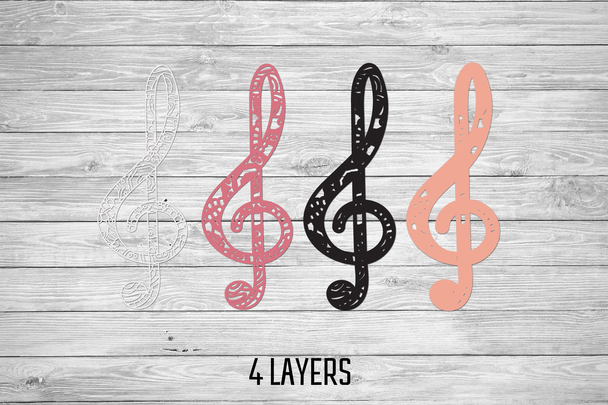 3d Layered Treble Clef SVG | Multi Layer Music SVG Cut File example image 3