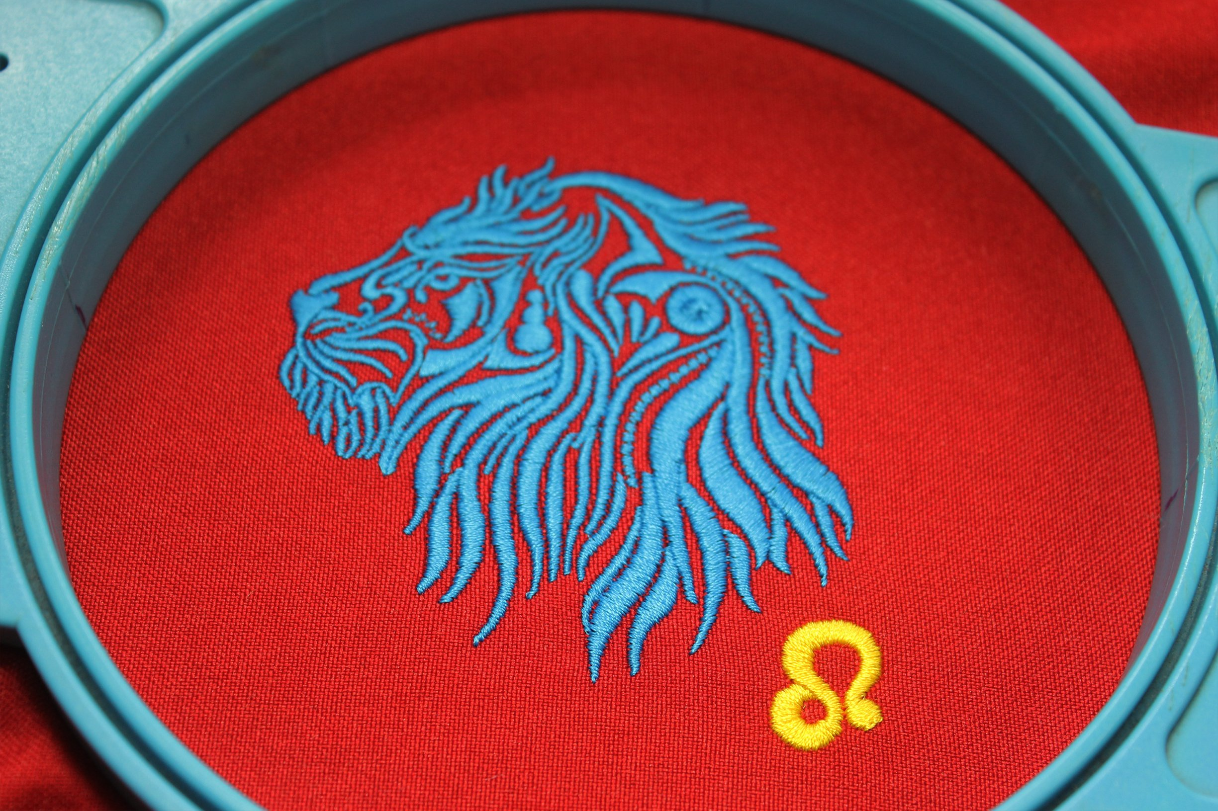 Leo Zodiac Sign - machine embroidery design, satin stitch example image 7