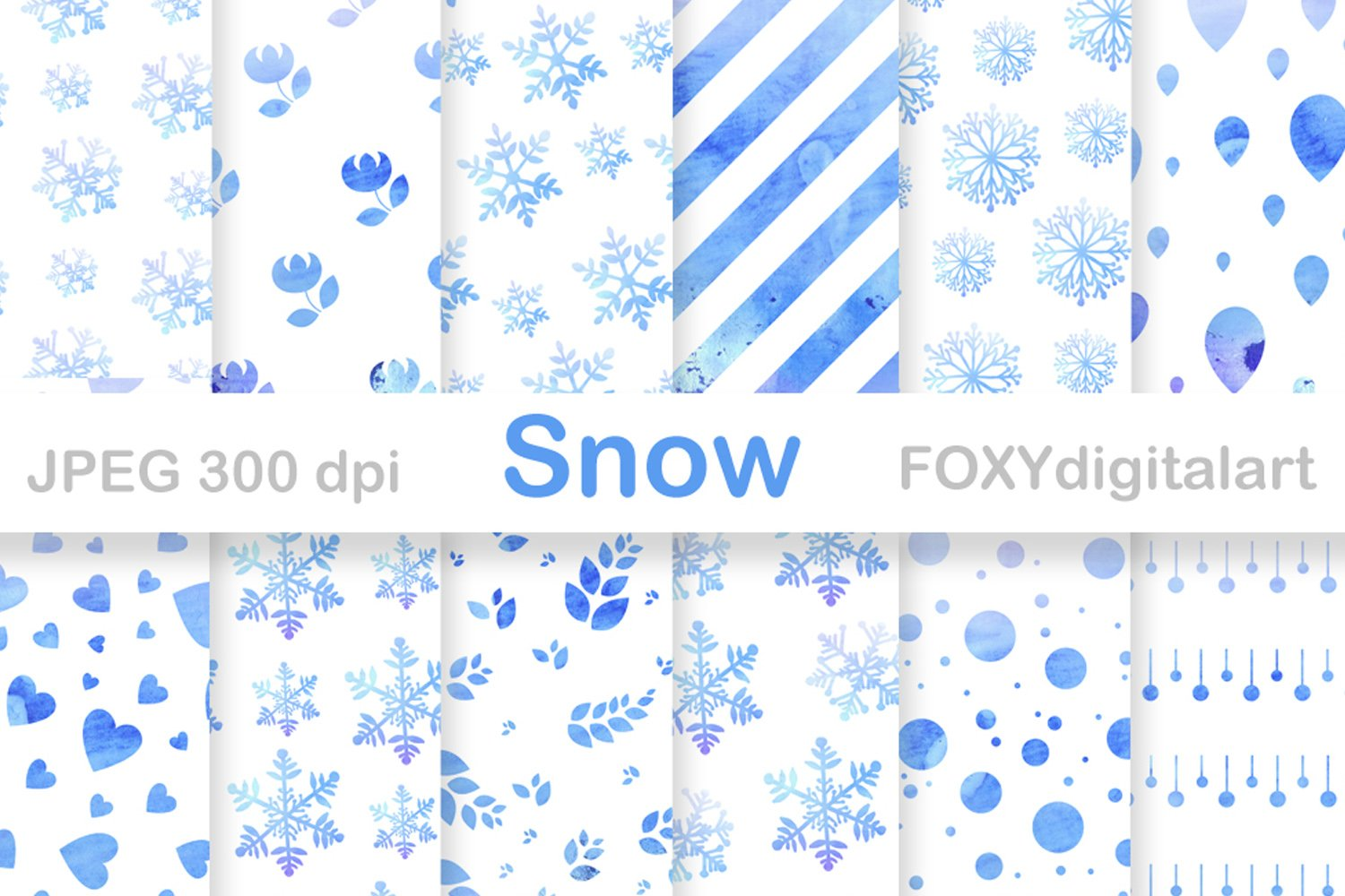 Digital Paper Christmas Holiday Winter Snow Flakes 348613 Backgrounds Design Bundles