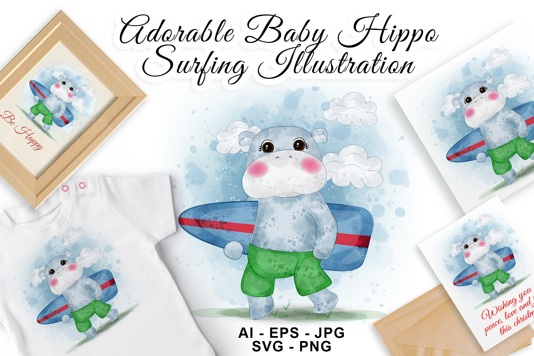 Adorable Baby Hippo Beach Surfing Watercolor Illustration example image 1