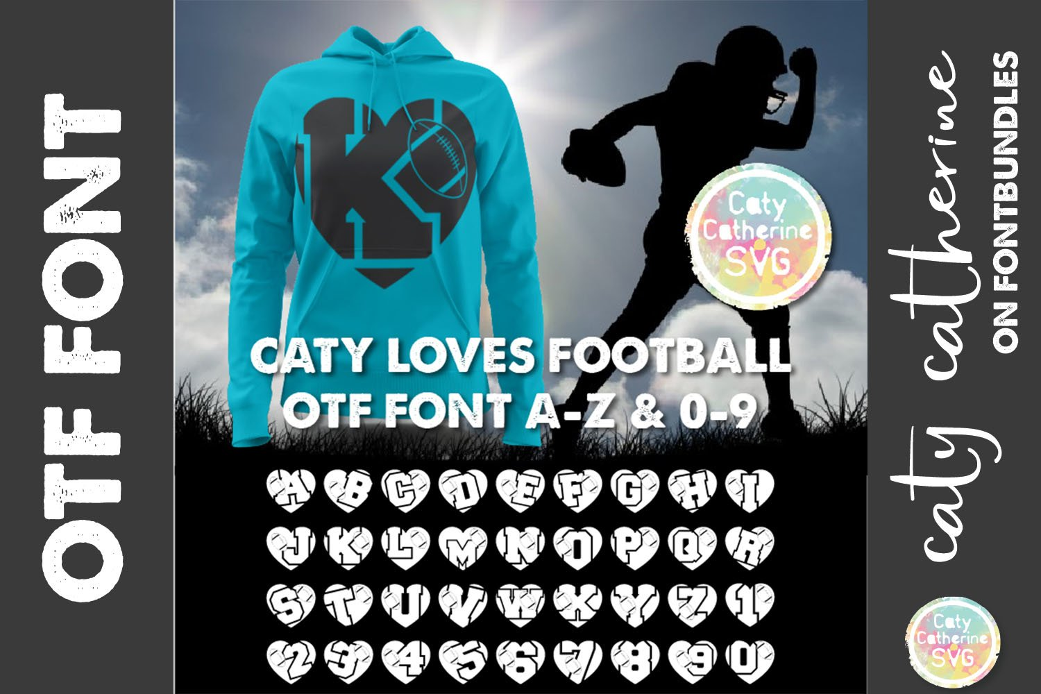American Football Rugby Love Heart Initial Font A-Z 0-9 OTF example image 1