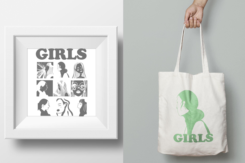 Girls portraits! 9 illustrations - eps, svg, png, jpg, cdr example image 15