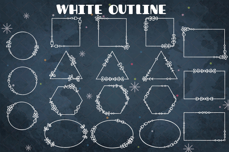 Download Geometric Frame White Decorative Border Floral Wreath 1051754 Illustrations Design Bundles