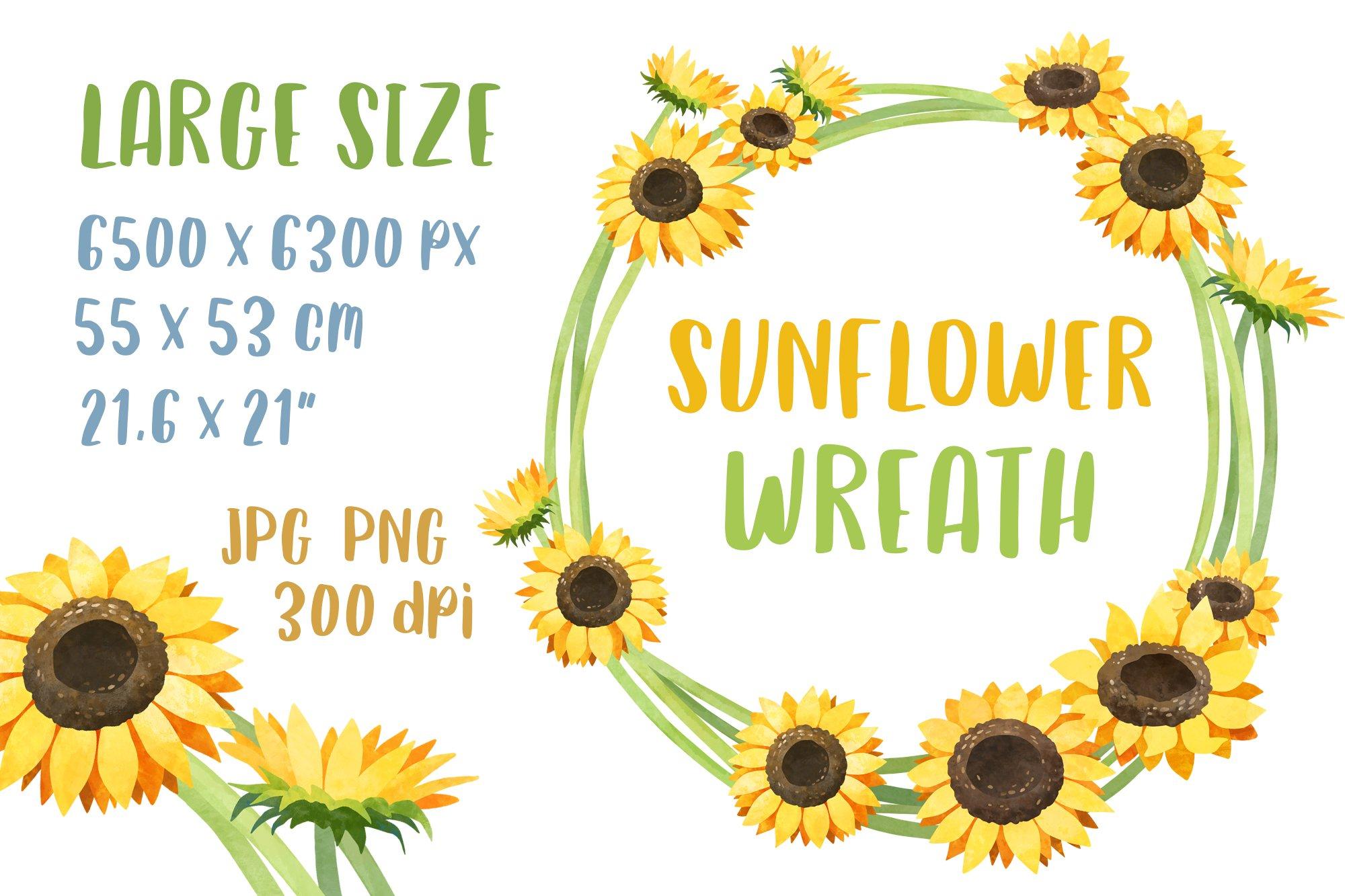 Watercolor Sunflower Wreath Wedding Flower Frame Clipart 657625 Illustrations Design Bundles