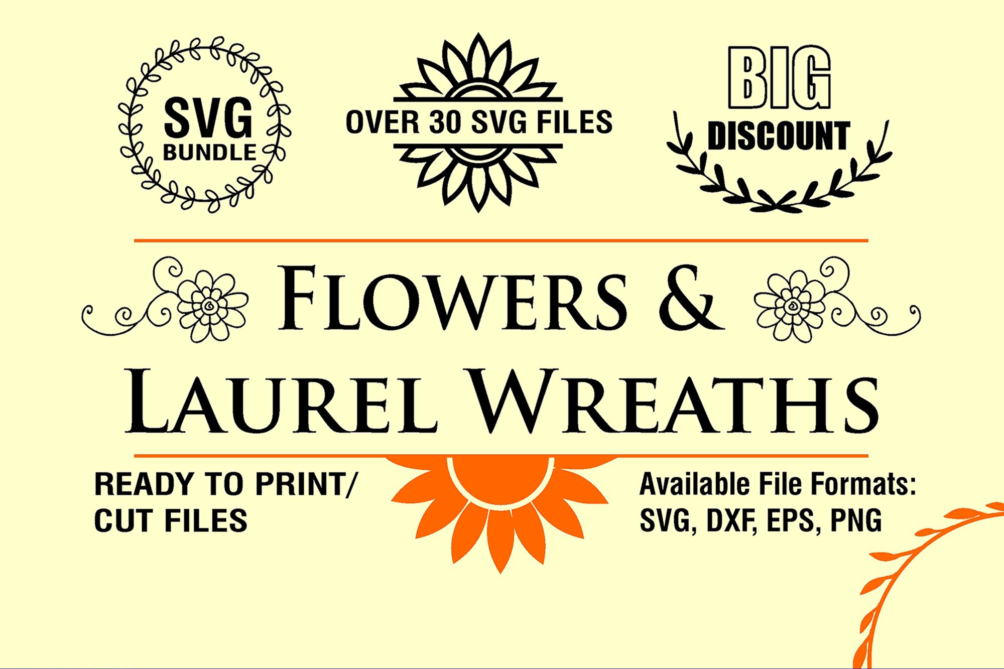 Flowers and Laurel Wreaths SVG Bundle example image 2