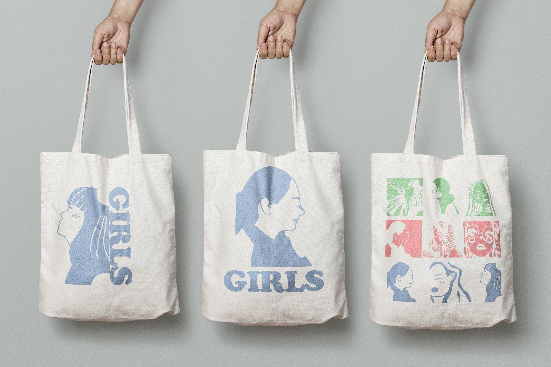Girls portraits! 9 illustrations - eps, svg, png, jpg, cdr example image 18