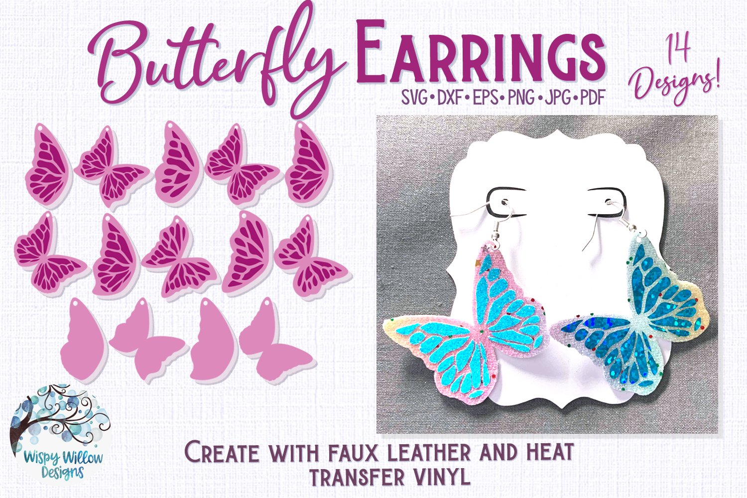 Butterfly Earrings for Cricut, Silhouette or Vinyl Cutter example image 1