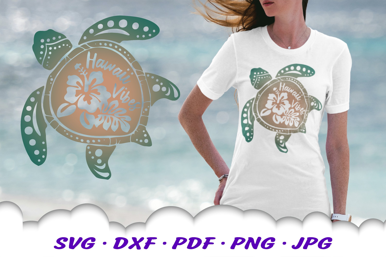 Hawaii Hibiscus Sea Turtle SVG DXF Cut Files Bundle example image 5