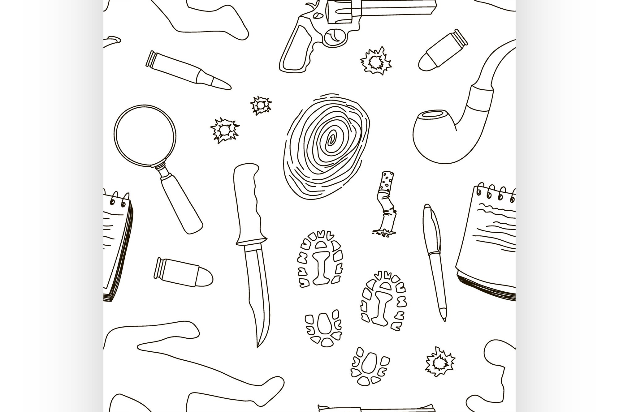 Vector detective crime icons set pattern example image 1