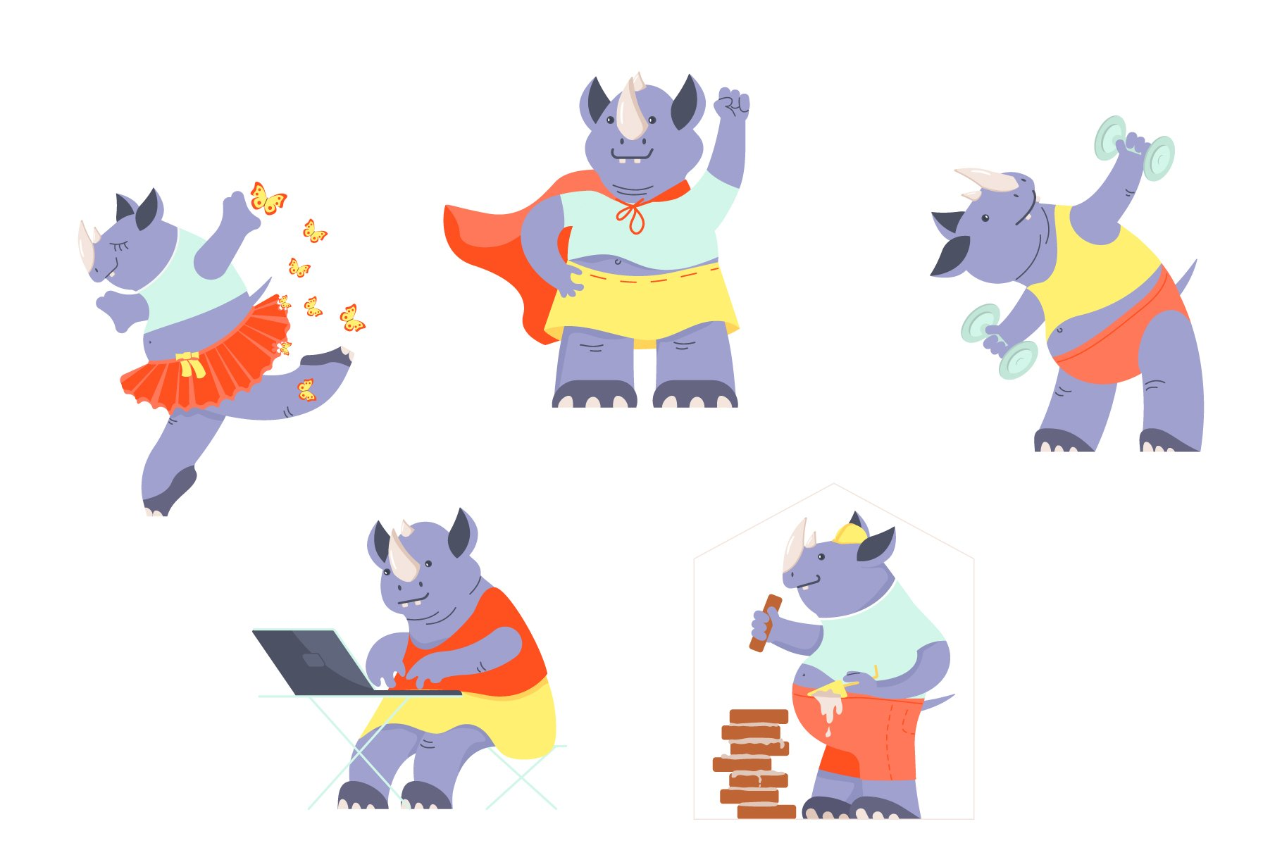 Funny Rhino characters example image 2
