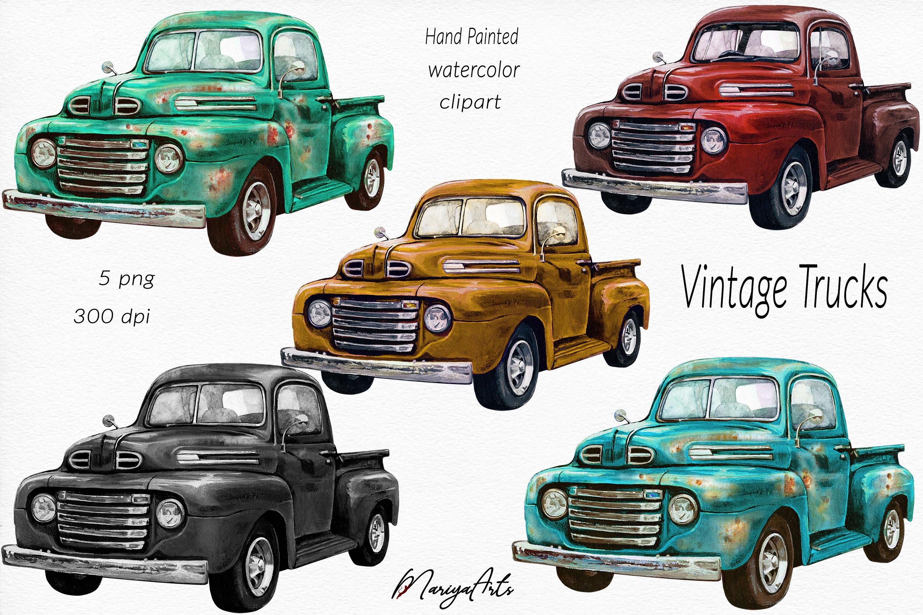 Vintage Rusted Trucks, Pickup, Blue, Gold, Green, Red, Black example image 1