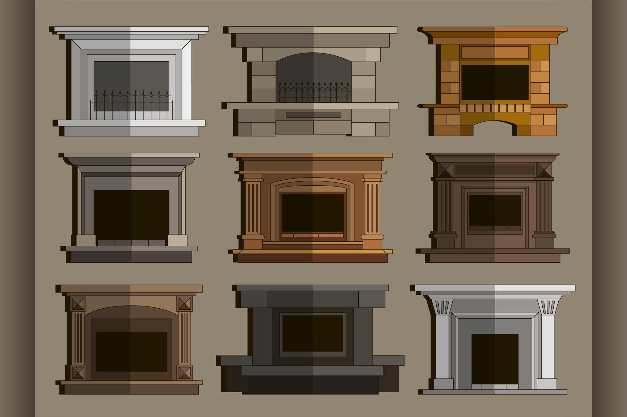 Set of vector fireplace icons and fireplace design example image 1