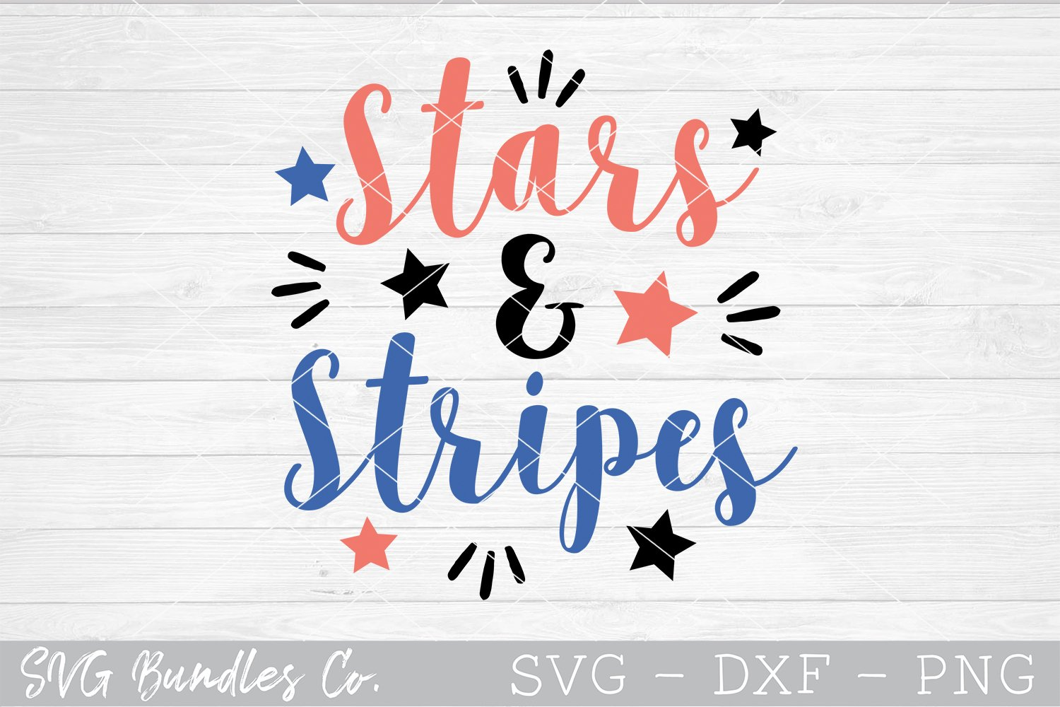 Stars & Stripes - 4th of July SVG DXF PNG example image 1