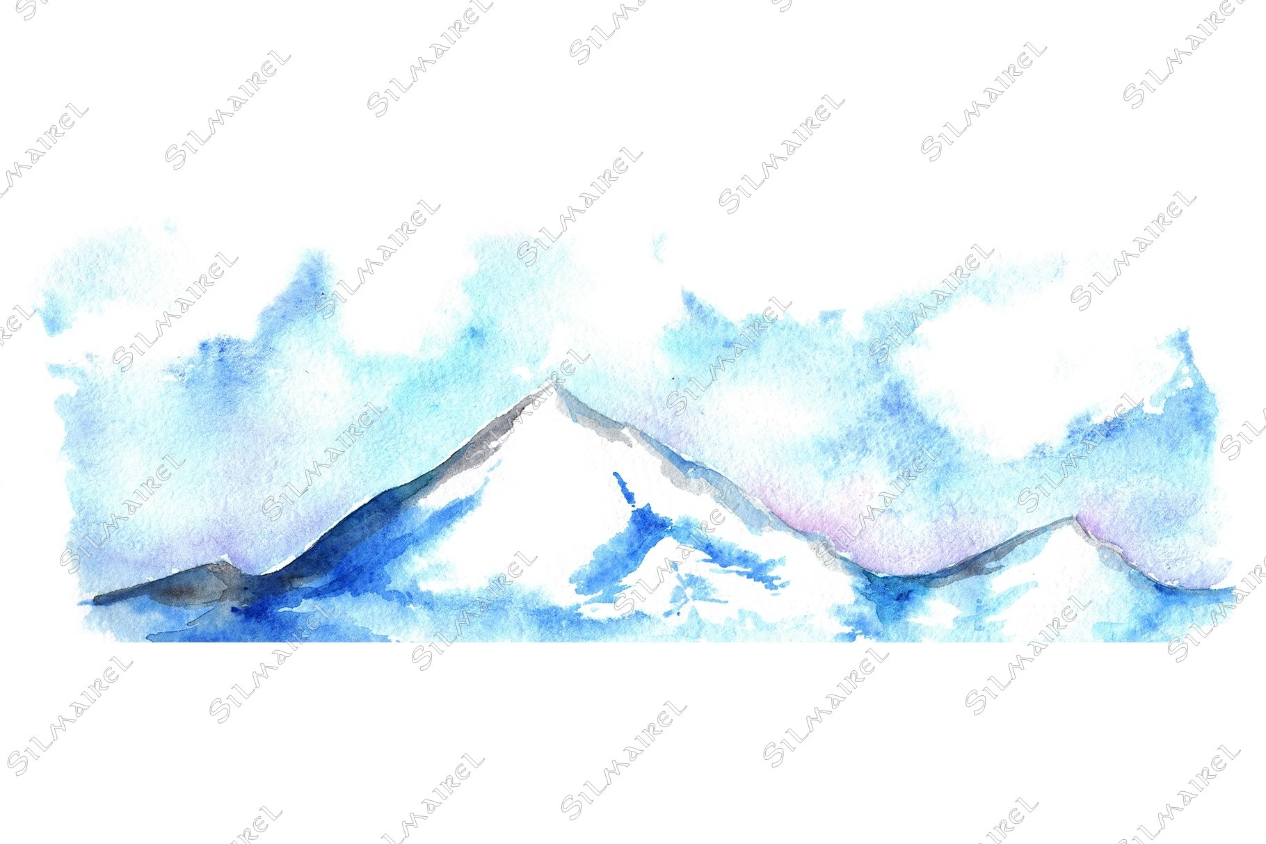 Watercolor North winter ice mountain landscape hand drawn example image 1