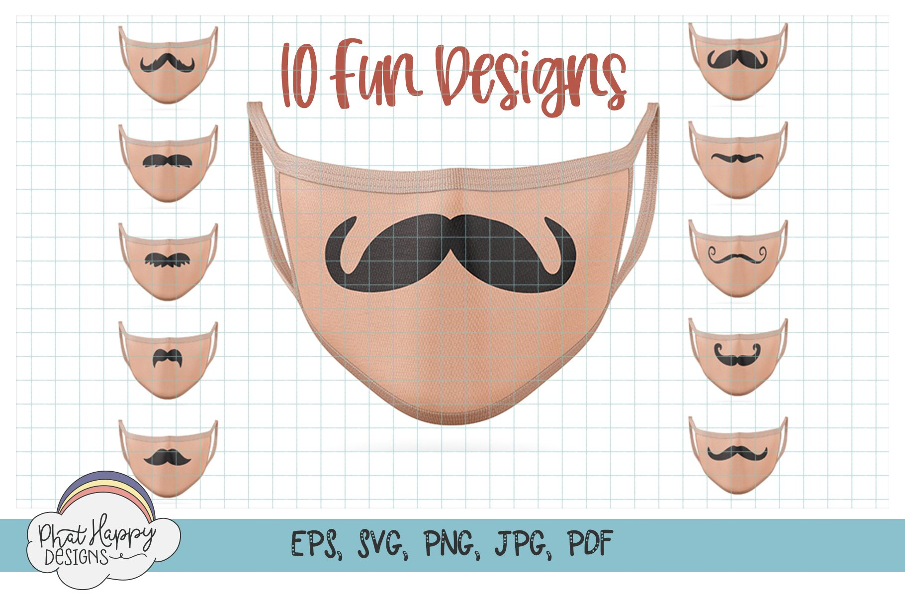 10 Funny Mustaches for Masks - SVG Cut Files example image 1