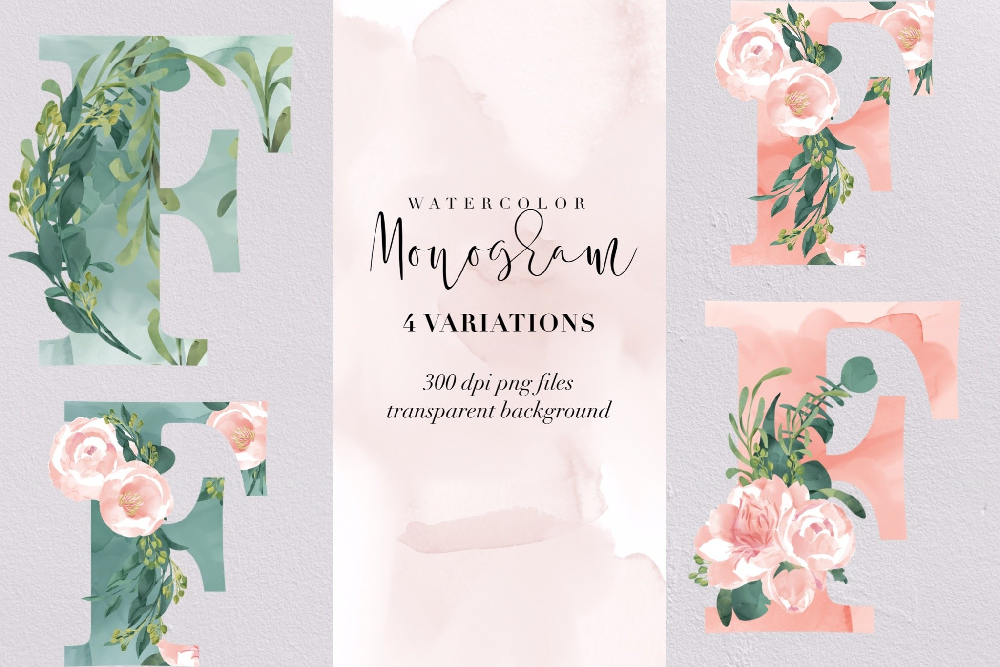 Letter F watercolor monogram, floral monogram PNG, botanical example image 1