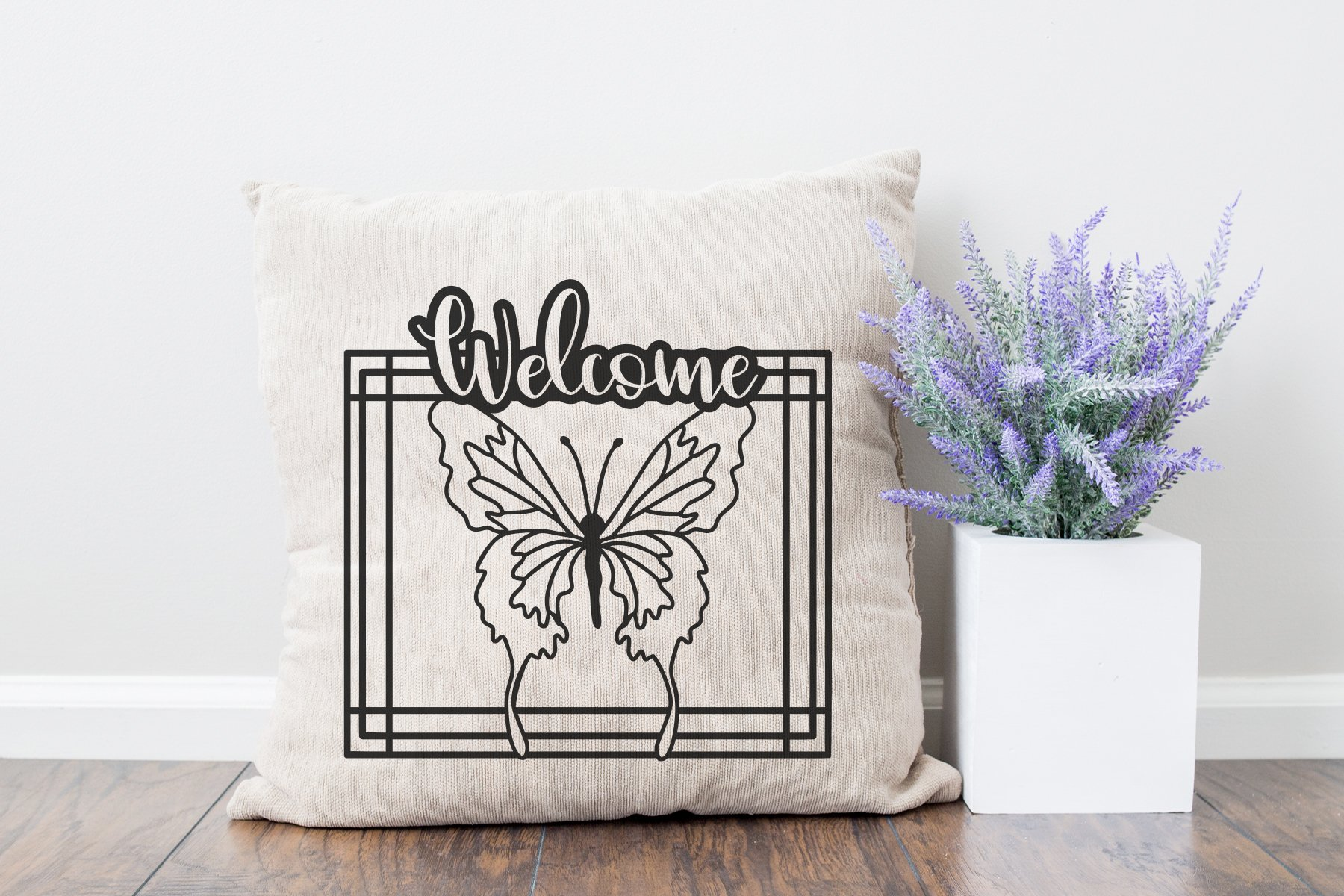 Butterfly Paper Cut SVG | Welcome Sign SVG example image 2