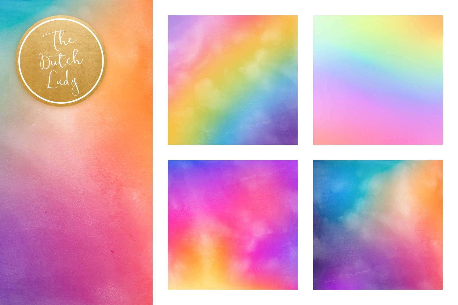 Digital Backgrounds & Papers - Distressed Rainbow Gradients example image 3