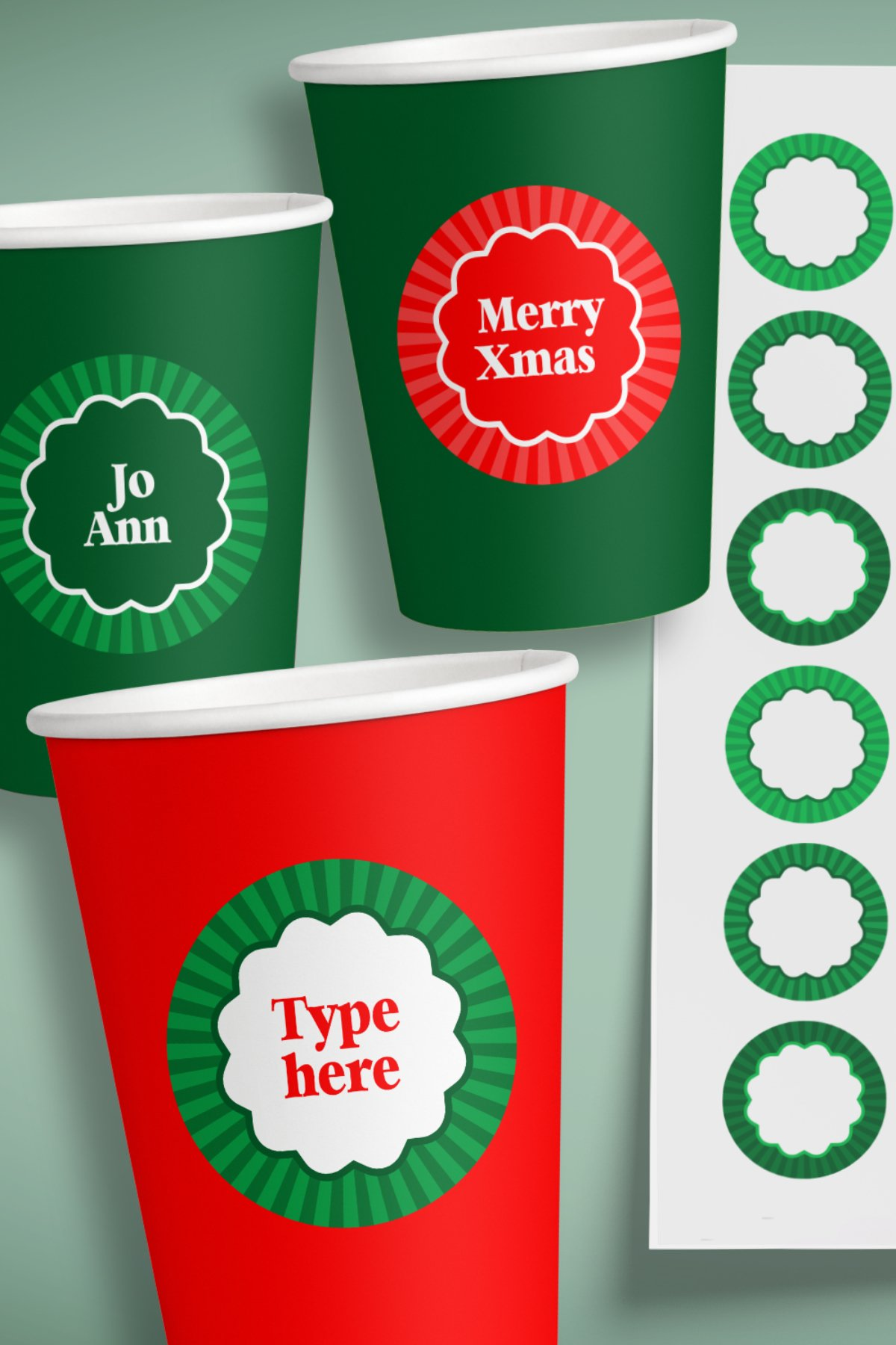 Small Christmas Labels 1.6 in, EU 4 cm for A4 and US Letter example image 3